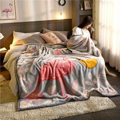 柠栀毯业 大版花经编拉舍尔毛毯 加厚双层单人双人毯子秋冬季婚庆盖毯被子 150cmX200cm重量4斤 巧夺天工