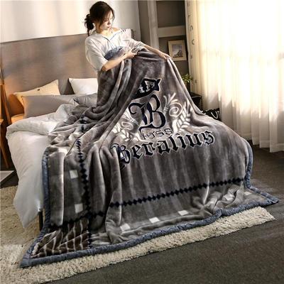 2020新款大版花经编拉舍尔毛毯 加厚双层单人双人毯子秋冬季婚庆盖毯被子 150cmX200cm重量5斤 英邦奢伦