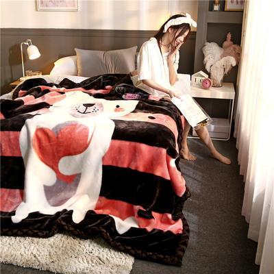 2019新款大版花经编拉舍尔毛毯 加厚双层单人双人毯子秋冬季婚庆盖毯被子 150cmX200cm重量4斤 情有独钟
