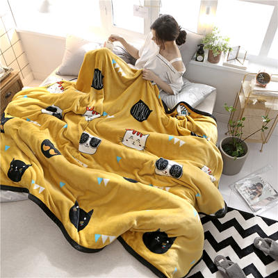 300克法莱绒毛毯  珊瑚绒小毛毯子 150cmx200cm 猫生猫世