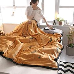 柠栀毯业 300克法莱绒毛毯  珊瑚绒小毛毯子 120cmX200cm 晚安世界