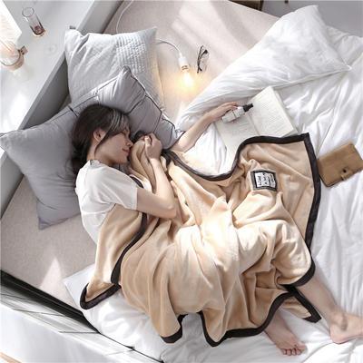 560克午睡毯 法莱绒小毛毯子 100cmX150cm W经典驼