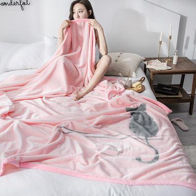 双人床图片 暖暖绒毛毯子 150cmX200cm(实际重量2斤) 可爱猫咪
