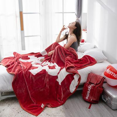 双人床图片 暖暖绒毛毯子 180cmX200cm(实重2.4斤) 完美字母-红