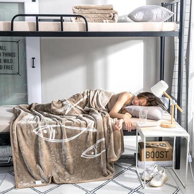 学生床上下铺床暖暖绒毛毯子 150cmX200cm(实重2斤) 年年有鱼