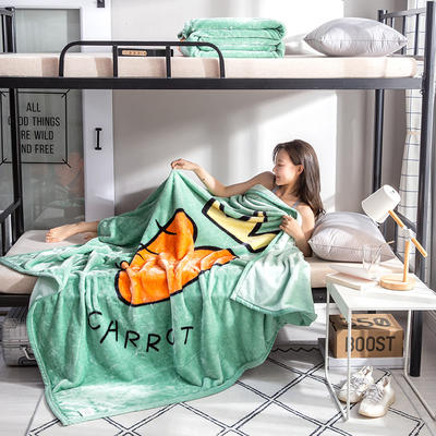 学生床上下铺床暖暖绒毛毯子 150cmX200cm(实重2斤) 超级萝卜-绿