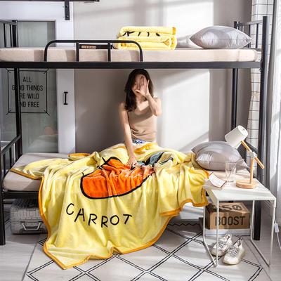 学生床上下铺床暖暖绒毛毯子 150cmX200cm(实重2斤) 超级萝卜-黄