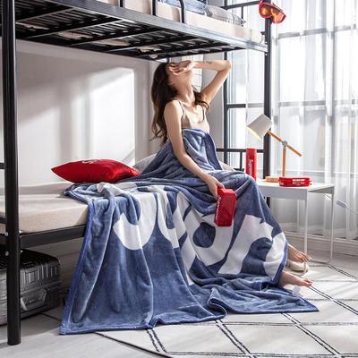 学生床上下铺床暖暖绒毛毯子 200cmX230cm(实重3斤) 完美字母-蓝