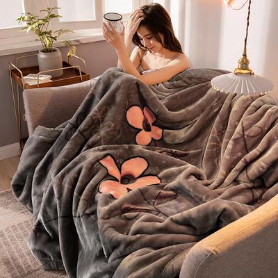 2020新款大版花经编拉舍尔毛毯 加厚双层单人双人毯子秋冬季婚庆盖毯被子 150cmX200cm重量5斤 闭月羞花