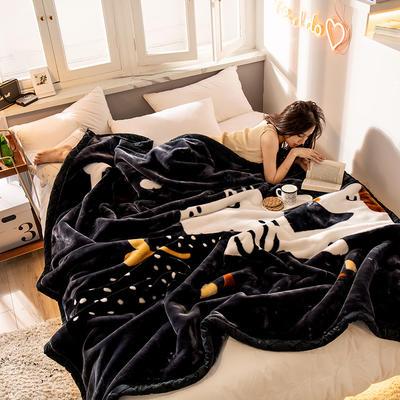 2019新款 柠栀毯业 大版花经编拉舍尔毛毯 加厚双层单人双人毯子秋冬季婚庆盖毯被子 150cmX200cm重量4斤 欢天喜地