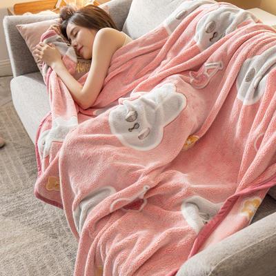 雪花绒毛毯 法莱绒毯子 160*230cm 樱桃兔-红