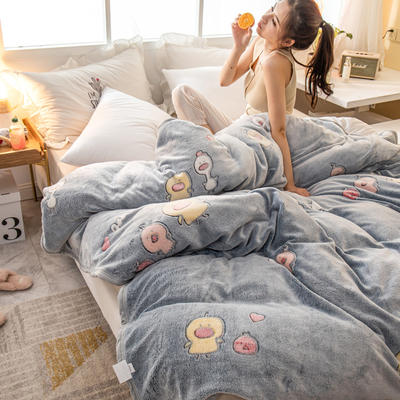 雪花绒毛毯 法莱绒毯子 150*200cm 黄小鸭