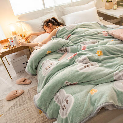 雪花绒毛毯 法莱绒毯子 160*230cm 樱桃兔-绿