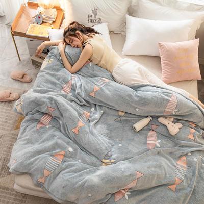雪花绒毛毯 法莱绒毯子 70x100cm 泡泡鱼