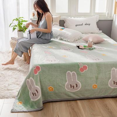 雪花绒床单 120cmx230cm 樱桃兔-绿