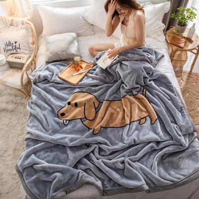 云毯 毛毯子 200*230cm(实重6.0斤) 香肠狗狗