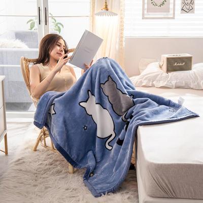 云毯 午睡毯 毛毯子 105*135cm(实重2.2斤) 依偎猫猫