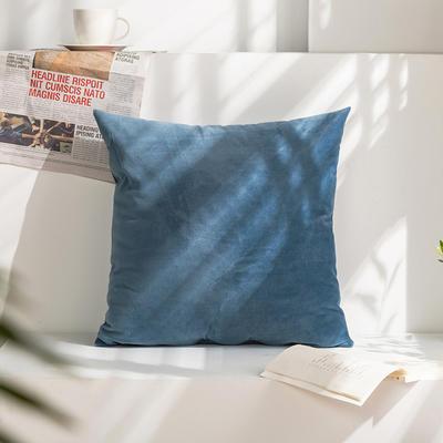 柠栀家纺 丽丝绒抱枕 方枕 腰枕 40x40cm(抱枕套不含芯) 海洋蓝