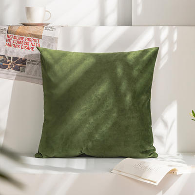 柠栀家纺 丽丝绒抱枕 方枕 腰枕 40x40cm(抱枕套不含芯) 绿色