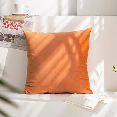 柠栀家纺 丽丝绒抱枕 方枕 腰枕 40x40cm(抱枕套不含芯) 珊瑚橘