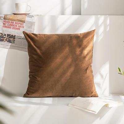 柠栀家纺 丽丝绒抱枕 方枕 腰枕 40x40cm(抱枕套不含芯) 棕色