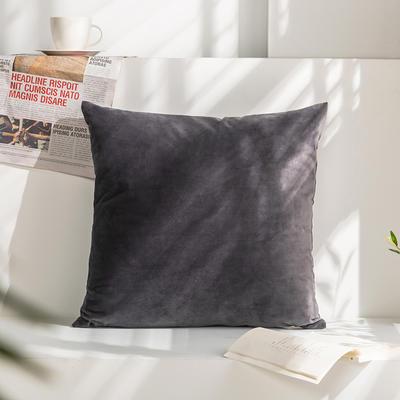 柠栀家纺 丽丝绒抱枕 方枕 腰枕 40x40cm(抱枕套不含芯) 深灰