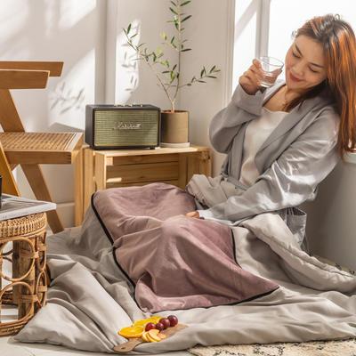 柠栀家纺 丽丝绒加磨毛布 抱枕被  方枕被 午睡毛毯 被子 50x50cm(打开150x200cm) 抱枕被-豆沙红