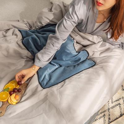 柠栀家纺 丽丝绒加磨毛布 抱枕被  方枕被 午睡毛毯 被子 50x50cm(打开150x200cm) 抱枕被-海洋蓝