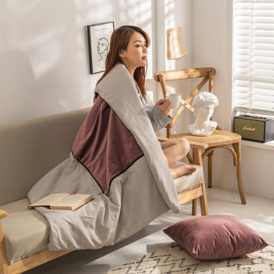柠栀家纺 丽丝绒加磨毛布 抱枕被  方枕被 午睡毛毯 被子 50x50cm(打开150x200cm) 抱枕被-罗兰紫