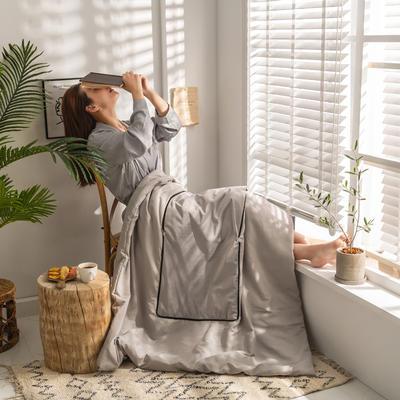 柠栀家纺 丽丝绒加磨毛布 抱枕被  方枕被 午睡毛毯 被子 50x50cm(打开150x200cm) 抱枕被-浅灰