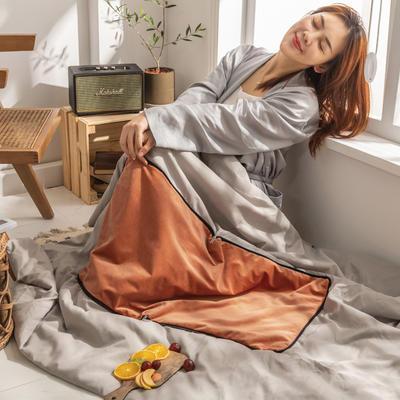 柠栀家纺 丽丝绒加磨毛布 抱枕被  方枕被 午睡毛毯 被子 50x50cm(打开150x200cm) 抱枕被-珊瑚橙