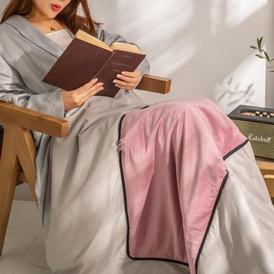 柠栀家纺 丽丝绒加磨毛布 抱枕被  方枕被 午睡毛毯 被子 50x50cm(打开150x200cm) 抱枕被-少女粉