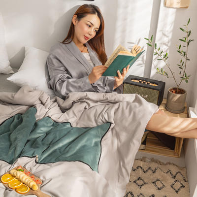柠栀家纺 丽丝绒加磨毛布 抱枕被  方枕被 午睡毛毯 被子 50x50cm(打开150x200cm) 抱枕被-松石绿