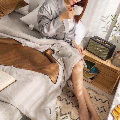 柠栀家纺 丽丝绒加磨毛布 抱枕被  方枕被 午睡毛毯 被子 50x50cm(打开150x200cm) 抱枕被-棕色