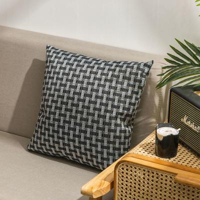柠栀家纺  高克重麻布方格款抱枕套抱枕芯 30X50cm(腰靠套不含芯) 方黑