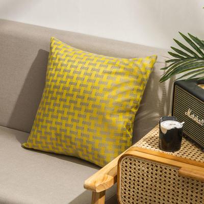 柠栀家纺  高克重麻布方格款抱枕套抱枕芯 30X50cm(腰靠套不含芯) 方黄