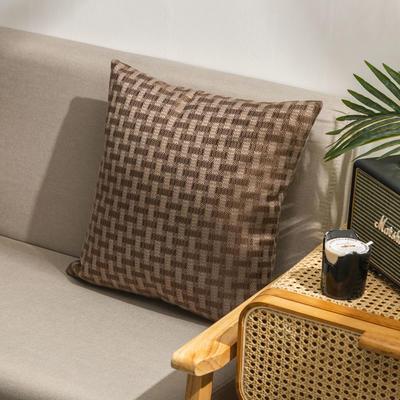 柠栀家纺  高克重麻布方格款抱枕套抱枕芯 30X50cm(腰靠套不含芯) 方咖