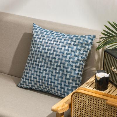 柠栀家纺  高克重麻布方格款抱枕套抱枕芯 30X50cm(腰靠套不含芯) 方蓝