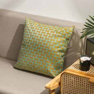 柠栀家纺  高克重麻布方格款抱枕套抱枕芯 30X50cm(腰靠套不含芯) 方绿