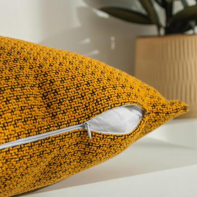 柠栀家纺 高克重迷宫格款抱枕套 抱枕芯 30x50cm(腰靠套不含芯) 迷黄