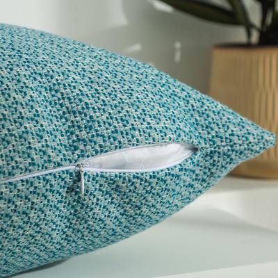 柠栀家纺 高克重迷宫格款抱枕套 抱枕芯 30x50cm(腰靠套不含芯) 迷浅蓝