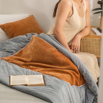 柠栀家纺 暖绒款抱枕被  里料水晶绒 40X40cm(打开110x140cm) 抱枕被-暖橘