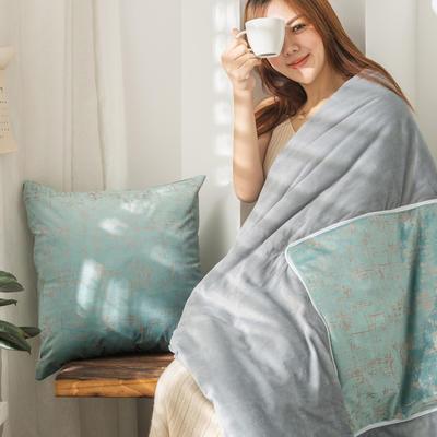 柠栀家纺  烫金款抱枕被 里料水晶绒 40X40cm(打开110x140cm) 抱枕被-烫金蓝