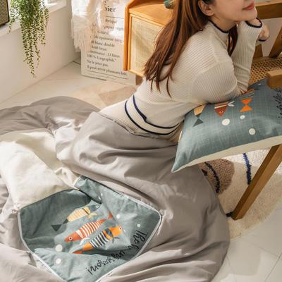 柠栀家纺 高克重数码印花抱枕被 40X40cm(打开110x140cm) 抱枕被-多彩鱼