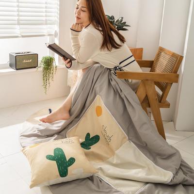 柠栀家纺 高克重数码印花抱枕被 40X40cm(打开110x140cm) 抱枕被-仙人掌