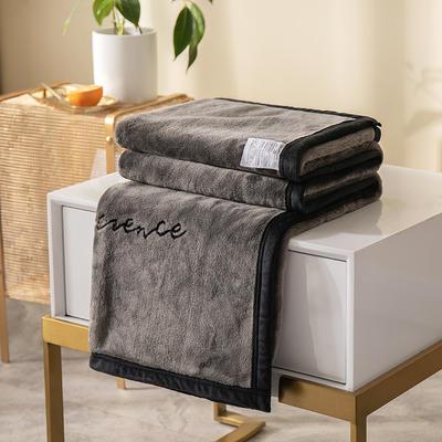 柠栀家纺 380克绣花法莱绒毛毯 午睡毯 童毯 100x150cm 灰色
