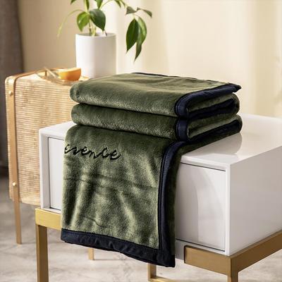 柠栀家纺 380克绣花法莱绒毛毯 午睡毯 童毯 100x150cm 绿色