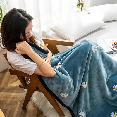 柠栀毯业  双层法莱绒毛巾绣花午睡毯 提取码:j5hc 100cmX150cm 小雏菊毯