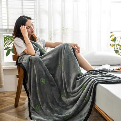 柠栀毯业  双层法莱绒毛巾绣花午睡毯 提取码:j5hc 100cmX150cm 仙人掌毯