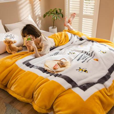 2020新款大版花经编拉舍尔毛毯 加厚双层单人双人毯子秋冬季婚庆盖毯被子 150cmX200cm重量5斤 高情逸态